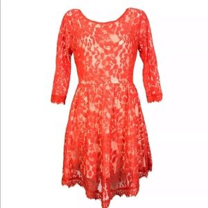 FREE PEOPLE RED LACE DRESS LINED Women SIZE 10